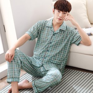 Men T Shirt Cotton Pajama Set 4XL Sleepwear Sexy Mens Turndown Collar Tshirts + Pants Brand Short Sleeve Plaid Casual Tracksuit Q1202
