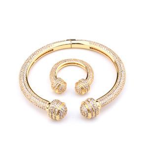 Modische Frauen Temperament voller Diamant Armband Ring Set Womens Armbänder Silber Gold Manschette Armband Armreifen Freundschaft Armbänder