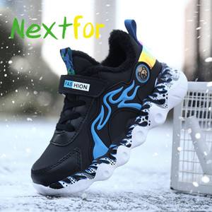 2020 Winter with Fur Gym Shoes Kids Boy Designer Baby Sneakers Leather Children Shoe Fashion Shoe for Boys Warm Fur Sneakers Kid J1208