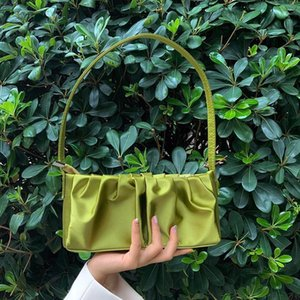 Designer-Luxury Folds Mini Solid Color Women Baguette Bags Silk Design Ladies Small Shoulder Bag Vintage Female Tote Clutch Purse Handbag