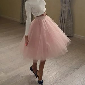 Качество 5 слоев Мода Tulle Ploided Tutu Rokken Womens Lolita Petticat Blies Midi Rok Jupe Saias Faldas