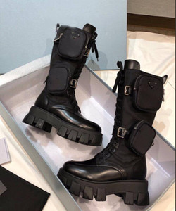 2020 women Martin boots monolish boots shiny Rois boots leather nylon ankle combat for Women Strap with removable nylon pouch A2