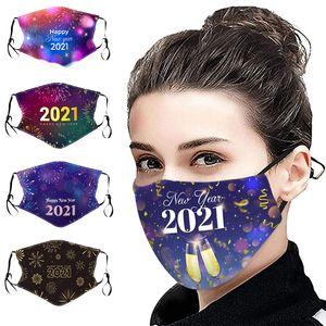 FELIZ AÑO NUEVO 2021 Mascarilla de la cara Mascarilla de algodón impreso Máscara de diseño de polvo a prueba de polvo máscaras lavables Facenas Facenas Fiesta de Navidad