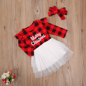 Christmas Dress Toddler Kids Girls Letter Plaid Print Long Sleeve Tulle Dress with Headband Children Girls Xmas Outfits Gifts Z1127