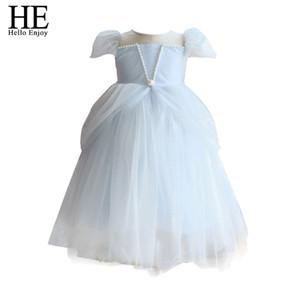 HE Hello Enjoy Children Clothes 2020 Summer Flower Girls Wedding Party Dress New Arrival Solid Mesh Ball Gown Princess Dress 2-6 J1205