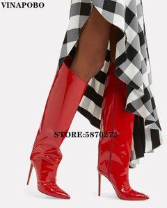 vinapobo Runway Stilettos Süßigkeit-Farben-Spiegel Leder Metallic über die Knie-Frauen Langen Stiefel High Heels Kniehohe Stiefel Frau