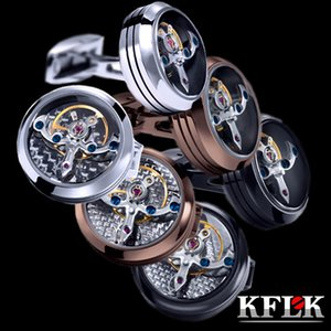 Kflk Jewelry Shirt Cufflink for Mens Brand Button Watch Mechanical Movement Cuff Link High Quality Tourbillon Guests