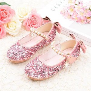 New Crystal Bow Shoes Girls Spring Autumn Rhinestone Princess Leather Shoes Children Kids Party Flats Dance Toddler 0411