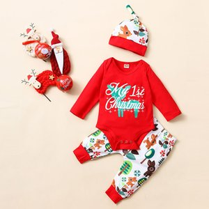 Christmas Print Sets Newborn Kids Girls Boys Outfits Clothes 3pcs Romper+pants+hat Set Winter Warm Baby Boy Clothing