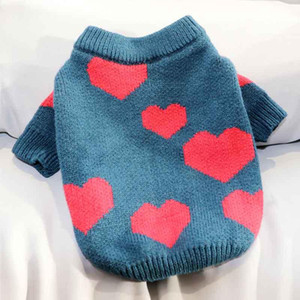 Autumn and winter clothes love printing pet Teddy cat Bichon Pomeranian VIP small dog Schnauzer dog clothes knitted sweater