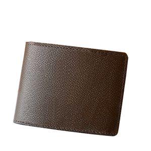 Mens court porte-cartes de portefeuille Designer portefeuilles véritable contrôle lettres marron doublure en cuir toile porte-monnaie multifonction de luxe Loui porte-monnaie