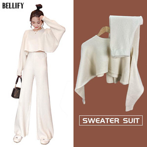 Oversized Batwing Sleeve Cropped Sweater and Wide Leg Pants Women's Knit Two Pieces Set Sexy Navel Cashmere Blend Tracksuit