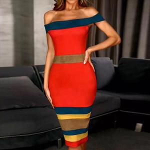 2020 New Summer Bandage Dress Women Vestidos Sexy Slash Neck Short Sleeve Off Shoulder Club Celebrity Evening Party Dress