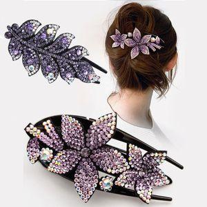 Rhinestone Hairpin Flower Leaf Butterfly Duckbill Hair Retro Hair Clips Accessories For Women Shinning Ponytail Headwear
