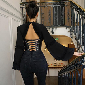 Sexy Backless Chiffon Lace Up Blouse Cute Shirt Tops Spring Bandage Cleb Party Bustier Corset Hooks Puff Sleeve ASBL60704