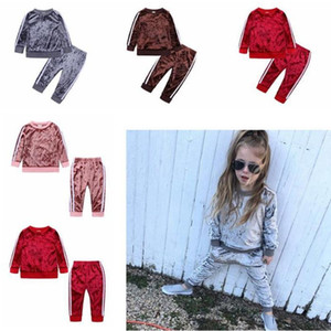 Autumn Winter Kids Velvet Clothes Set Baby Girls Designer Casual Clothing Outsuits Thicken Tops Pants Two-Piece WQ149