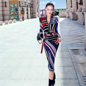 2020 Yeni Sonbahar Elbise A-Line Etek Baskı Fermuar Uzun Kollu Elbise Elbise