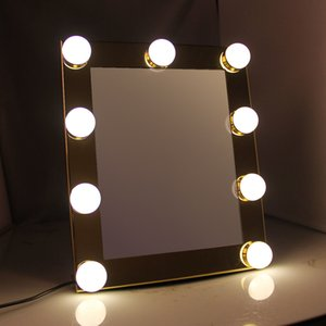Тщеславие столешницы освещенные макияж зеркало с 9 светодиодными огнями лампочки сенсорный экран красоты зеркала регулируемый косметический инструмент 2018 T200114
