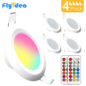 Round Downlight 7W RGBW LED Ceiling Multicolor Dimmable Recessed Spot Light Infrared controller Color Changing AC 110V 220V Q1121