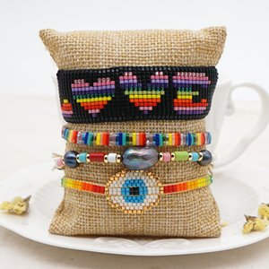 Go2Boho Turkish Evil Eye Bracelet For Women Boho Rainbow Miyuki Bracelets Jewelry Enamel Tile Pearl Summer Jewellery Gift Y1119