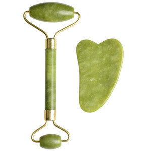 Jade Roller & Gua Sha Scrapping Tool Set Aging Facial Massager,Authentic Jade Stone Roller for Face Massage