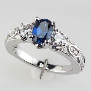 Fedi nuziali Huitan Deep Blue Stone Wholesale all'ingrosso donne dito antico modello monili misterioso gioielli con dimensioni 6-10