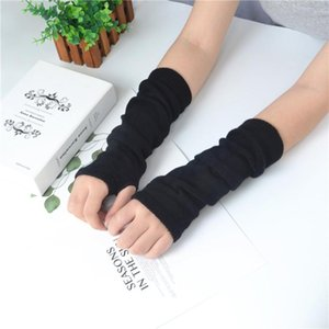 Soft Stretchy Wrist Arm Hand Warmer Knitted Mittens Acrylic Thin Solid Color Gloves Anti-uv Air Conditioning Room Warm Sleeves