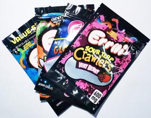 Gummi Solucan Errlli 600mg sakızlı çanta ekşi brite tarayıcılar ekşi terp tarayıcılar çok berry bükülmüş ekşi glowworms gummi yenilebilir çanta