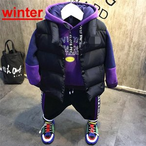 Kleidung Sets Kinder Jungen Kleidung Set Anzug Sport Anzüge Kind Kind Indant Kleinkind Weste + Plüsch Hoodie + Plüschhose