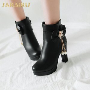 Sarairis New Fashion 2020 Big Size 43 Square High Heels Metal Decoration Ankle Boots Women Shoes Platform Zip Up Boots Women