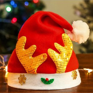 Christmas hat Christmas child adult snowflake plush antler shape party decoration dress up hat red blue gold green sequins 38cm Sequins 22g