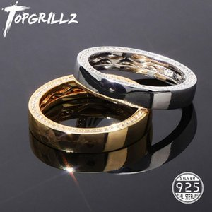 TOPGRILLZ Hip Hop 925 Sterling Silver Engagement Rings Iced Out Cubic Zircon Ring 7-11 Inch Man Women's Jewelry For Gifts Party Z1121