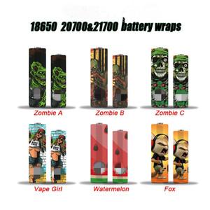 Neueste VAPE Haut 18650 20700 21700 Batterie Wraps Vaper Wrapper Coverhülse Schrumpfen Wrap Heat Shrink Zombie Girl Fox Wassermelone