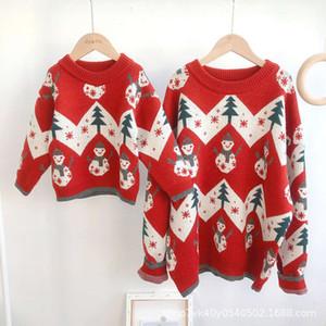 autumn winter 2020 new children's red Christmas sweater parent child fashion trend