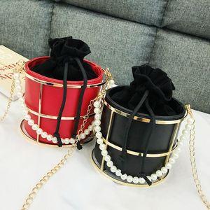 Fashion Women Bucket Bags Designer Luxury Pearls Beaded Handle Women Handbags Chain Shoulder Crossbody Bags Evening Clutch Purse