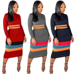 Striped Womens Knit Dresses Sexy Slim Long Sleeve O Neck Hip Dress Autumn Winter Fashion Casual Women Bodycon Clothes