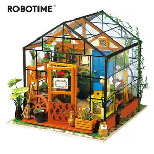 Robotime DIY Green House with Furniture Children Adult Doll House Miniature Dollhouse Wooden Kits Toy DG C1204