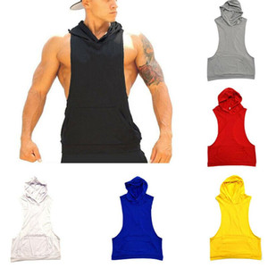 Men Cotton Sleeveless Hoodie Bodybuilding Workout Tank Tops Muscle Fitness Shirts Male Jackets Top