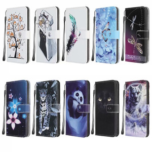 Flower Leopard Panda Wolf Butterfly Holder Leather Wallet Case For Samsung Galaxy S30 Ultra Plus S30 A12 Animal Cartoon Flip Cover Lanyard