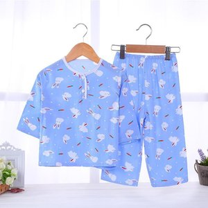 Summer Childrens Cotton Pajamas Thin Boys and Girls Baby Rayon Baby Summer Cotton Long-Sleeved Suit