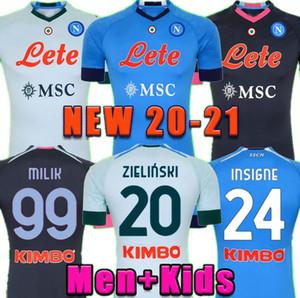 20 21 Camiseta de Fútbol de Napoli Soccer Jersey Nápoles 2020 2021 Koulibaly Camiseta de Fútbol Insigne Milik Maillot De Pie Allan Mertens Camisa