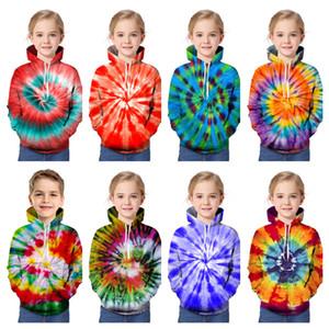 3d التعادل صبغ المطبوعة الاطفال جونيور هوديس الملونة جيرات فضفاضة طويلة الأكمام مقنعين sweatershirt الفتيان الفتيات عارضة سوياتشيرتس 90-160CME121403