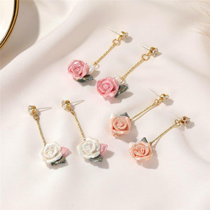 Long Style New Rose Stud Earrings Retro Flower Rhinestone Dangle Earring For Women European Pink Ear Jewelry Fashion