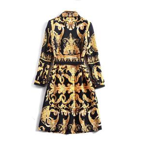Модная европейская и американская женская 2019 зимняя одежда Новый с длинным рукавом Fine Button Repain Print Trench