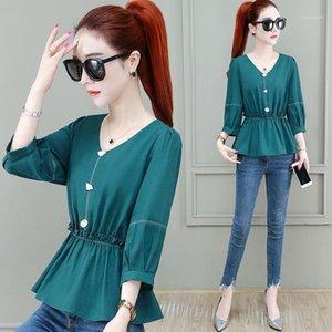 Pequena bainha camisa feminina moda verão desgaste 2020 Nian novo estilo no início da roupa de outono xiao shang yi serviço elegan1