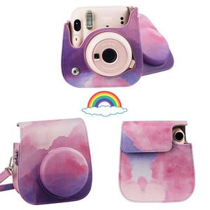 Aquarelle Cloud PU Cuir PU Coquille de protection Cocher de protection pour Polaroid Fujifilm Instax Mini 11/8/9 avec ceinture
