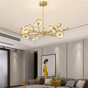 2020 Novo Cobre Cristal Chandelier Luzes Luxo Sala de estar Dining Sala Chandelier Iluminação Simples Modern Designer Lâmpadas de Pingente de Designer