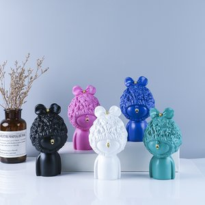 Estatua pico rizado pelo niña resina artesanía figurines escandinava hogar mobiliario adornos regalos exquisita mano de obra de alta calidad
