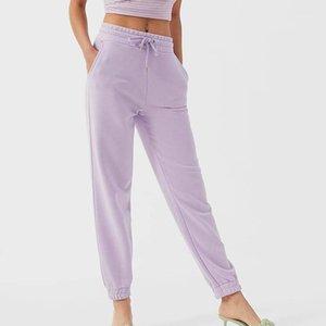 Kumsvag 2020 Summer Femmes Solid Pantalon Solide Taille Elastic Poches Casual Pantalon Femme Neuf Mode Pantalons1