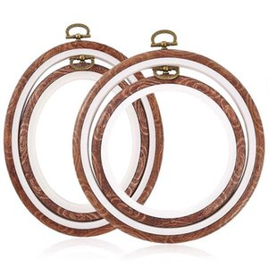 4 Pieces Embroidery Hoops Cross Stitch Hoop Imitate Wood Embroidery Circle and Oval Set for Art Craft Sewing and Hanging